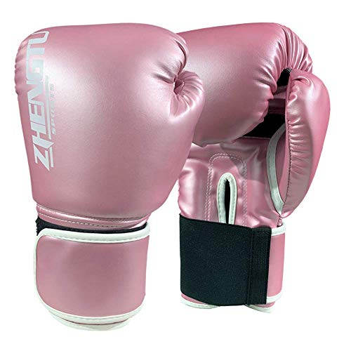 ZTTY Sports Boxing Gloves PU Leather Kickboxing Muay Thai Punching Bag Mitts MMA Pro Grade Sparring Training Fight Gloves for Men & Women (Y-Pink, 10oz) ()
