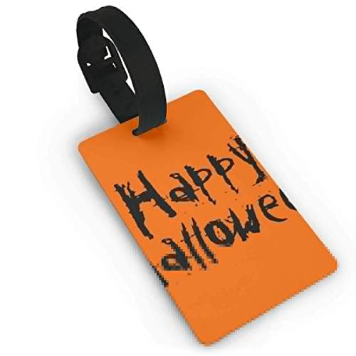 Luggage Tags Holders for Travel Luggage,Luggage Tags for Suitcases, Luggage Tag Happy Halloween Orange and Black Luggage Tag Suitcase Suitcase Label Bag Travel ()