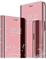 MLOTECH Fodral till Huawei P30 Pro fodral, skydd + härdat glas flip genomskinlig stående spegelpläteringshållare helkropp 360° smart skyddsskydd roséguld