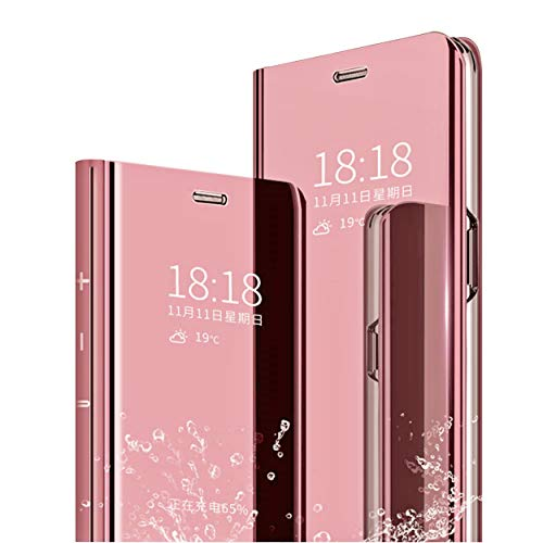 MLOTECH Case for Huawei P20 PRO cover + tempered glass Flip Clear View  Translucent Standing Cover Mirror Plating Holder Full Body 360°Smart Cover