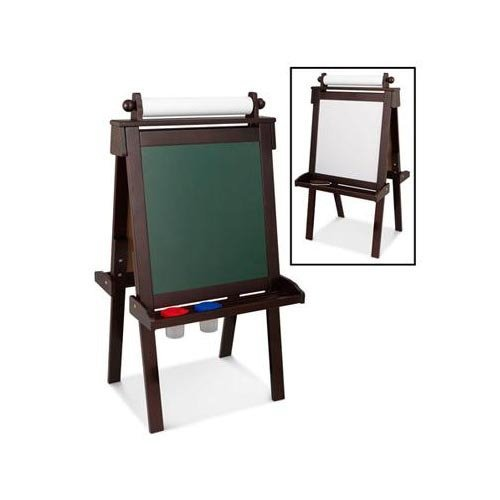 Kidkraft Artist Easel - Kidkraft Wooden Easel with 2 Paint Cups Includes Whiteboard, Chalkboard and Tray with Paper Dispenser in Espresso Finish