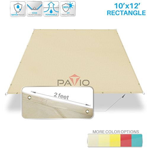 Patio Paradise 10'x12' Waterproof Sun Shade Sail Canopy, Beige Rectangle Straight Side Grommet Pergola Cover Windscreen Tarp UV Block Fabric for Outdoor Deck - Customize Available by Patio Paradise