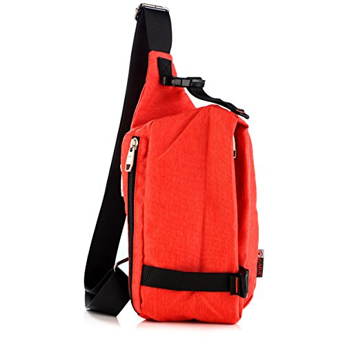LC Prime Sling Bag Chest Pack Unbalance Backpack Casual Crossbody Shoulder Bag Rucksack Water Resistant for Travel Outdoor Cycling oxford nylon red, by