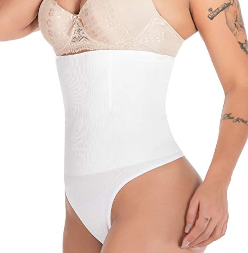 SAYFUT 328 Women Waist Cincher Girdle Tummy Slimmer Sexy Thong Panty Shapewear White (High Waist Slimmer Panty)