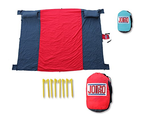 Sand Free Beach Blanket Mat Towel Great For Picnic Camping Outdoors Hiking Concerts Ripstop Nylon Lightweight Compact Includes 4 Corner Pockets and 8 Stakes With Two Pillow or Towel Sleeves.