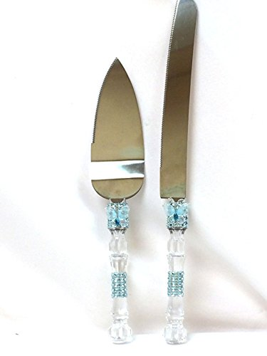 Light Blue Cake Knife & Server Set with Simulated Rhinestone and Butterfly Party Supplies