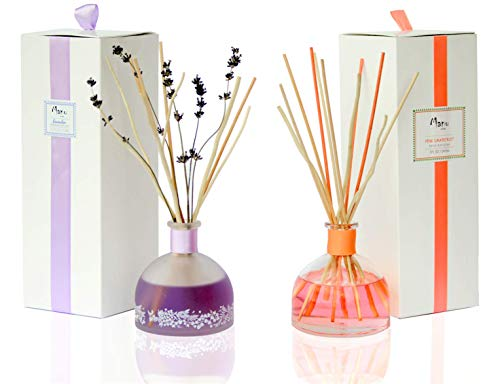 - Manu Home Pink Grapefruit and Calm Lavender Reed Diffuser Sets | Best Value - 2 Pack Set | Luxurious Aromatherapy Bedroom and Kitchen Diffuser Sets | Made in USA~