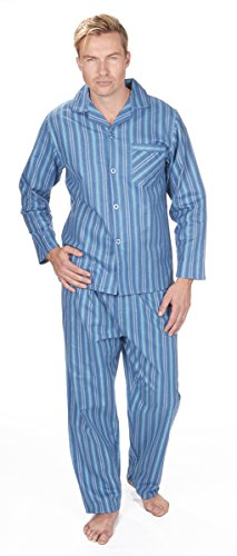 Pants Striped Flannel Pajama (Cargo Bay Mens Striped Cotton Flannel Pajama Set Blue Stripe Medium)