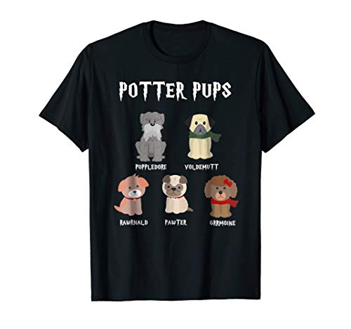 Potter Pups Harry Pawter Cute Puppy Dogs T-Shirt