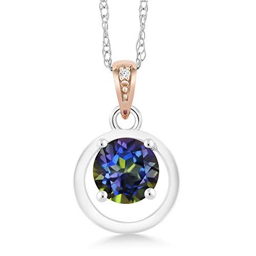 Gem Stone King 925 Sterling Silver and 10K Rose Gold Pendant Mystic Topaz with Diamond Accent ()