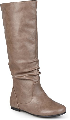 Journee Collection Dames Regular Sized En Wide-calf Mid-calf Slouch Rijlaarzen Taupe Patent