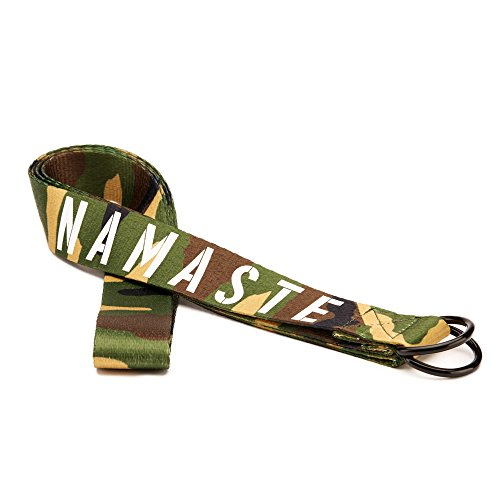 Masaya 'Namaste' Yoga Strap for Stretching - 8FT Premium Soft Touch Cotton Polyester with D-Ring - Flexibility Pilates Physical Therapy (Camo)