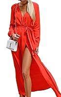 Angashion Women's Sexy Long Sleeve Wrap V Neck Slit Floor Length Beach Party Prom Maxi Dress Belt