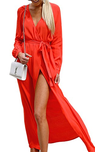 Angashion Womens Sexy Long Sleeve Wrap V Neck Slit Floor Length Beach Party Prom Maxi Dress Belt