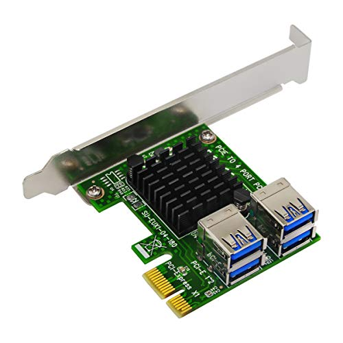PCI-E Riser Adapter Board 16x to 1x Powered Riser Adapter Card w/60cm USB 3.0 Extension Cable & 6-Pin PCI-E to SATA Power Cable GPU Riser Adapter - Ethereum Mining ETH 4 in 1 (EXU104S)