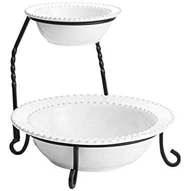 American Atelier Bianca Bead 2 Tier Server with Stand, White