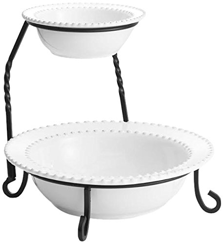American Atelier Bianca Bead 2 Tier Server with Stand, - Bead Round Bowl