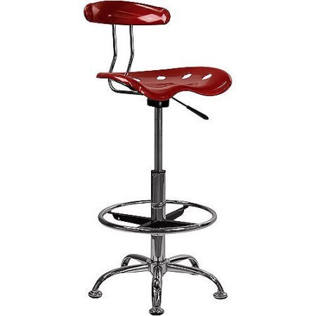 Adjustable Height Drafting Stool with Tractor Seat, Low Back, Swivel, Task Chair, Adjusts to Bar Stool Seat Height, Chrome Foot Ring, Home Office, Multiple Finishes + Expert Guide (Wine Red) by Jaxterrific