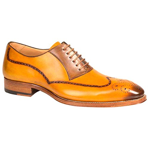 Kelvin Mustard Tan Burnished Calfskin Wingtip Oxfords by Mezlan (13-M) bVp2SKYE