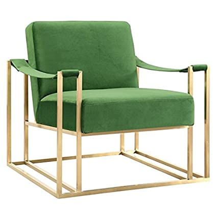 TOV Furniture The Baxter Collection Modern Style Living Room Den Velvet Upholstered  Armchair With Gold Frame