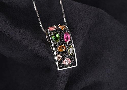 JewelryPalace Elégant Bague Boucles d'Oreilles Collier 45cm Pendentif Femme Emsemble Parures en Argent Sterling 925 en Tourmaline Multicolore et Apinelle Véritable Noir