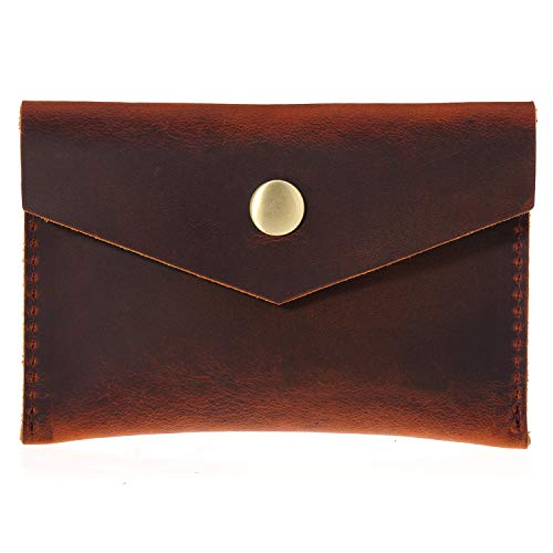 (Bird&Fish Handmade Vintage Business Card Holder Genuine Leather Front Pocket Minimalist Wallet for Men Women (Volcanic Red))