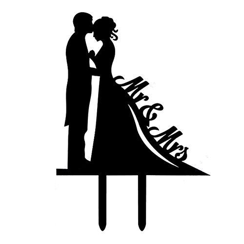 Mr & Mrs Groom Kisses Bride Silhouette Wedding Cake Topper, Unique Wedding Engagement Anniversary Cake Decoration (Kisses Toppers)