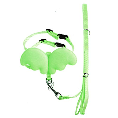 Hukai Adjustable Pet Angle Wing Rabbit Ferret Pig Harness Leash Lead Strap Nylon Cute (S, Green)