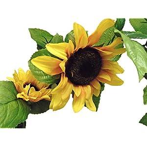 "Sunflowers Garland Artificial Silk Flowers 65"" Vine 8866YL 85"