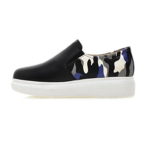 VogueZone009 Women's Round Closed Toe Pull On Pu Assorted Color Low Heels Pumps-Shoes Black ATimEYM