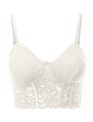 Lace Demi Bras Floral (Fifth Parallel Threads FPT Women's Floral Lace Demi Bralette OFFWHITE L)