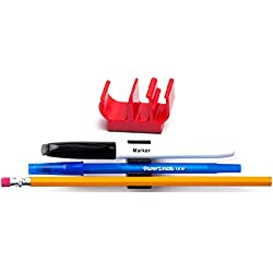 (10 pk) Red Self Adhesive pencil pen and marker holder adhesive clip - Best mount organizer to stick on the wall, bedside, tray, computer station - Great for hospitals, doctors, nurses, RN, dentists