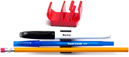 (10 pk) Red Self Adhesive pencil pen and marker holder adhesive clip - Best mount organizer to stick on the wall, bedside, tray, computer station - Great for hospitals, doctors, - Sunglasses Tabs Cheap