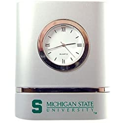 Michigan State Spartans Brushed Silver Desk Clock