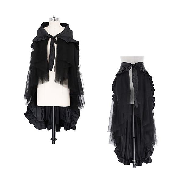 Belle Poque Women's Steampunk Gothic Wrap Skirt Victorian Ruffles Pirate Skirt 4