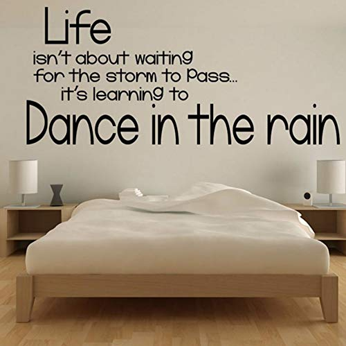 Pbldb 59X25Cm Dance in The Rain Quotes Text Wall Sticker Home Decor DIY Black Wall Decals Print for Kids Room Bedroom ()