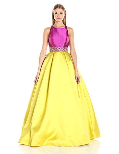Mac Duggal Women's Color Block Makkado Gown, Orchid/Chartreuse, 8