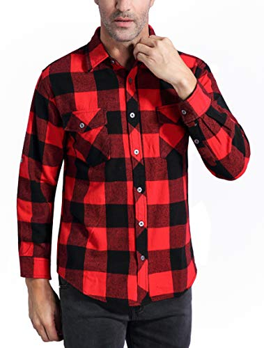 Coevals Club Men's Long Sleeve 100% Cotton Fleece Plaid Flannel Shirt (#3 Red/Black, L)