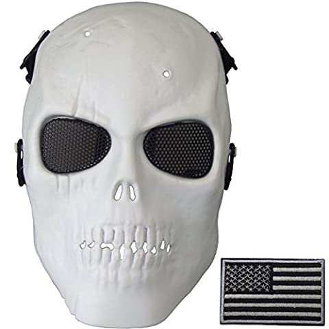 Wwman Wwman Airsoft Full Face Skull Mask and Military Patch Tactical War Game CS Protective Gear equipment (Bomb Of Gas)