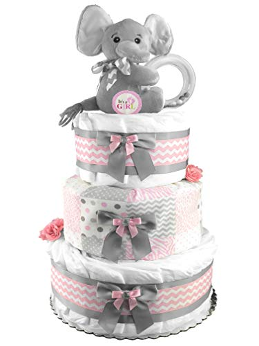 Elephant 3-Tier Diaper Cake - Baby Shower Gift - Pink and Gray