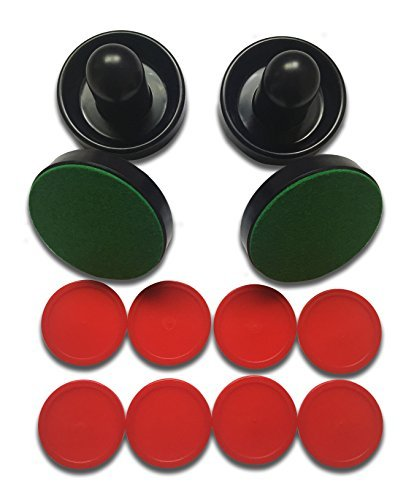 Wocst 4pcs Blue Air Hockey Game Table Pushers/Goalies and 8pieces Red Pucks Red Hockey Game Table