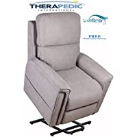 THERAPEDIC Lift Chair Recliner, 2 - Motor Lay-Flat , The Breckenridge with Stain Resistant LiveSmart Fabric (Wynwood Smoke), White Glove Delivery is Included