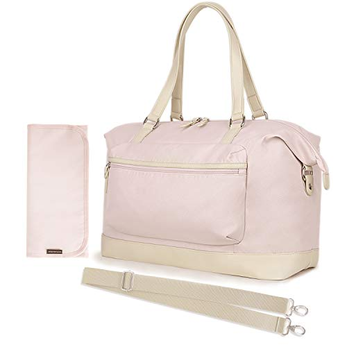 mommore Large Diaper Tote Bag Travel Duffel Bag for Mom and Dad with Changing Pad, Insulated Pockets, Pink