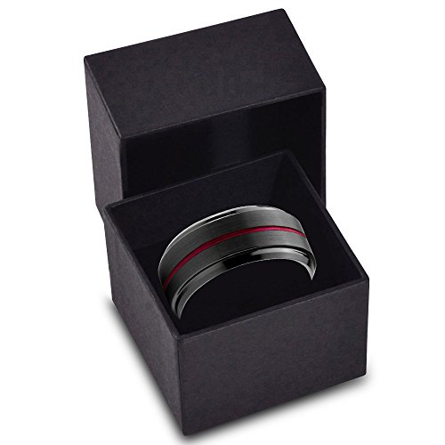 Tungsten Wedding Band Ring 10mm for Men Women Red Black Beveled Edge Brushed Polished Center Line Lifetime Guarantee