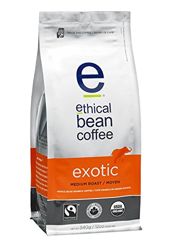 (Ethical Bean Coffee Exotic: Single Origin Medium Roast Whole Bean Coffee - USDA Certified Organic Coffee, Fair Trade Certified - 12 ounce bag)