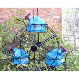 Par-A-Sol Bouquet Ferris Wheel 3 Station Bird Feeder - Aquamarine - Exhart Bird Feeder