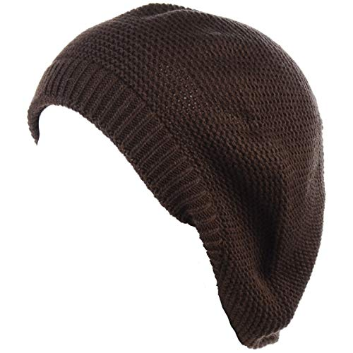 - BYOS Chic French Style Lightweight Soft Slouchy Knit Beret Beanie Hat in Solid Brown