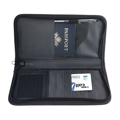 Passport Holder/Travel ID Wallet - Nylon Zippered, Heavy Duty - Black.
