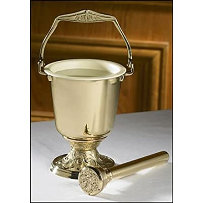 Religious Supply Embossed Holy Water Pot with Sprinkler Set: Toys & Games [5Bkhe0806227]