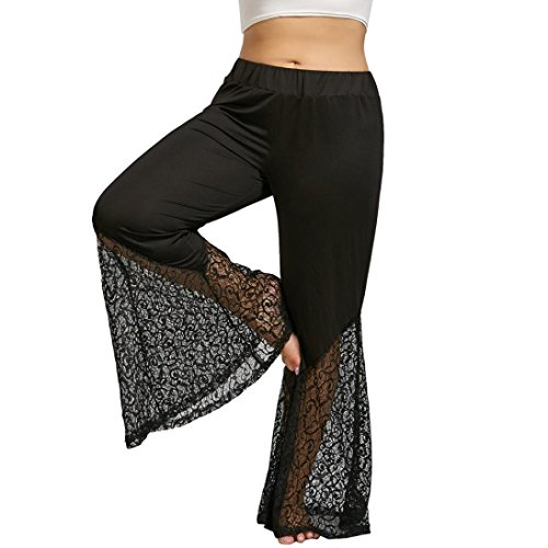 WILLTOO Wide Leg Pants Plus Size Womens Lace Bell-bottomed Trousers Oversized Lightweight Flare Yoga Long Pant (Black, US:14) (Flare Pants Textured)
